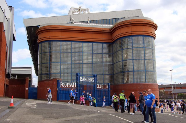 The stairway structure at the west of the Bill Struth Main Stand at Ibrox Stadium