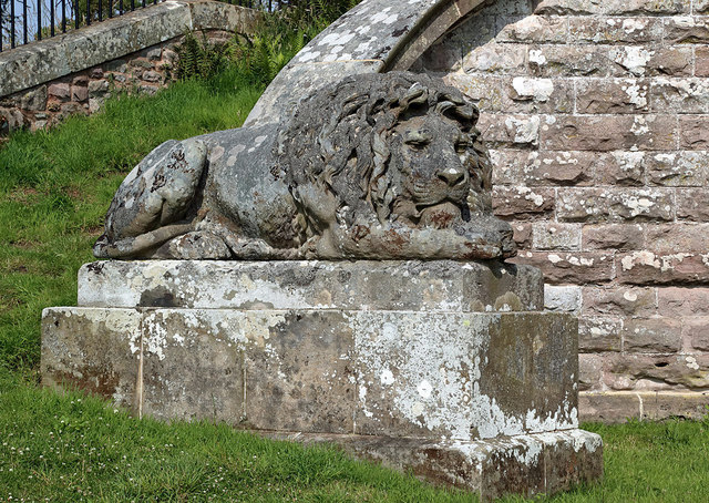 A lion sculpture at the Monteath Mausoleum