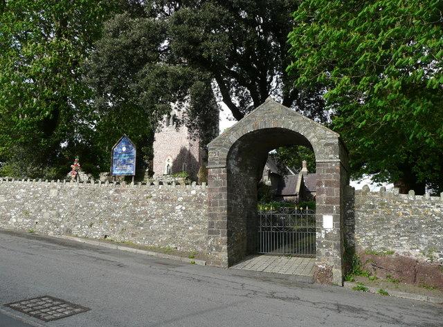 Lychgate to St Twrog's Church. Llanddarog