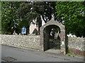 SN5016 : Lychgate to St Twrog's Church. Llanddarog by Humphrey Bolton