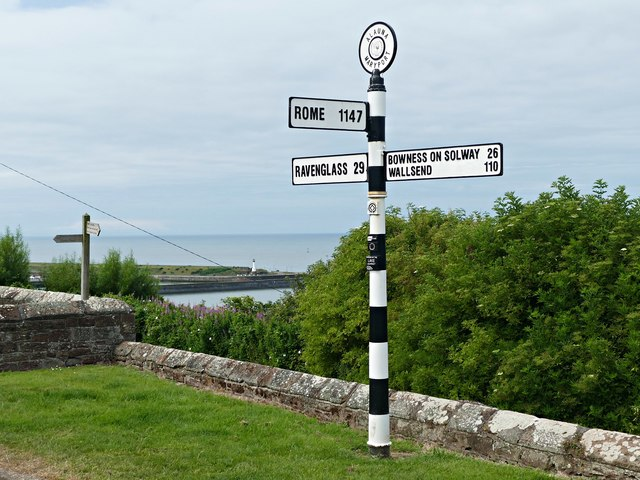 Direction sign at Alauna, Maryport by Graham Hogg