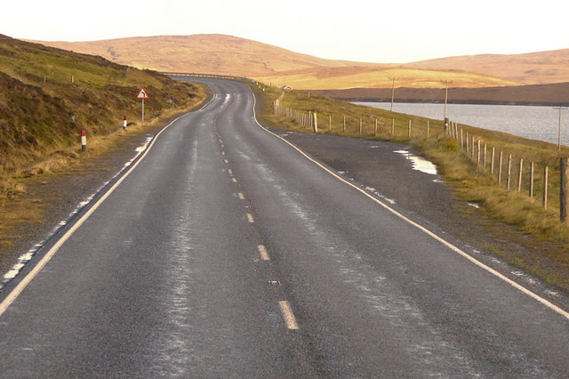 Small Layby on the A970 Overlooking Girlsta Loch