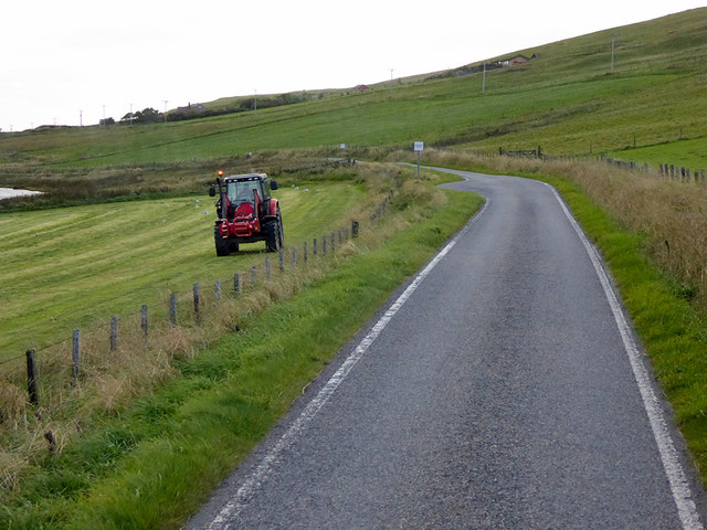 Tractor in Field between Gallow Hill and Tingwall Loch
