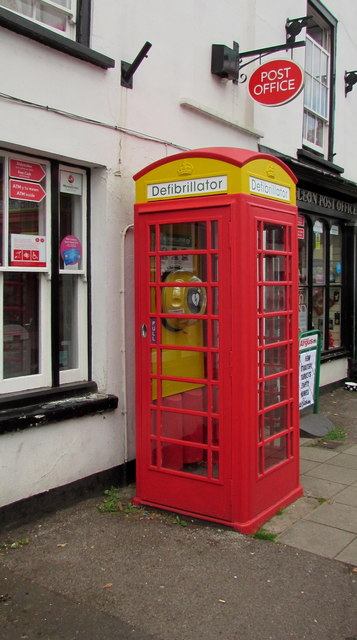 Defibrillator box outside Caerleon Post Office