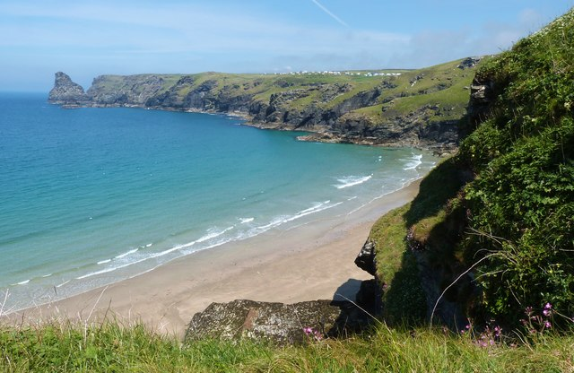 Looking across the beach at Benoath Cove, near Tintagel, Cornwall