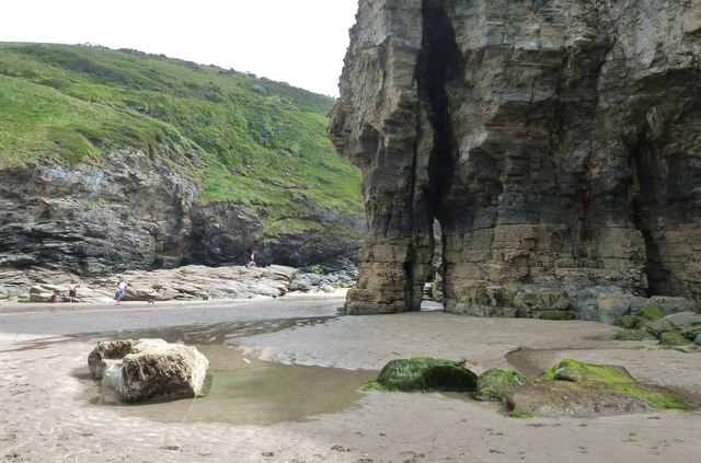 Rock structure at Bossiney Haven, near Tintagel, Cornwall