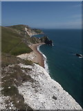 SY8080 : West Lulworth: east from Swyre Head cliff edge by Chris Downer