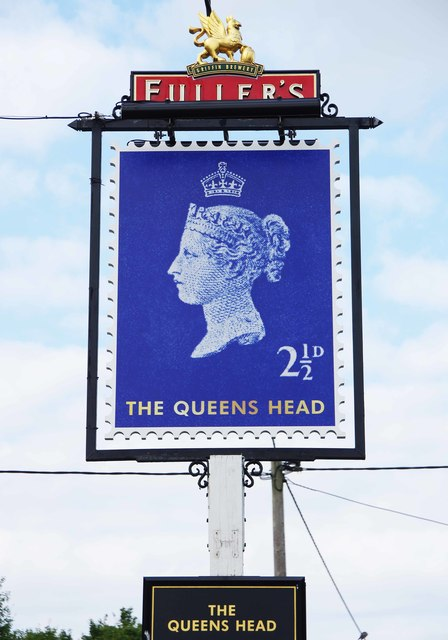 The Queens Head (2) - sign, Southend Road, Bradfield, Berks