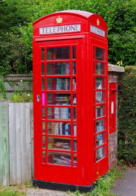 Book exchange facility in a former telephone kiosk, Chapel Row, near Bucklebury, Berks