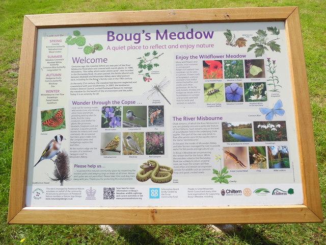 Information Board at Boug's Meadow, Great Missenden