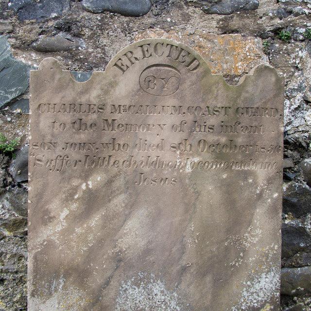 Gravestone, Ballycopeland Presbyterian Graveyard