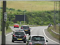 TQ2912 : A23 2nd Southbound exit in Pyecombe by Thoma