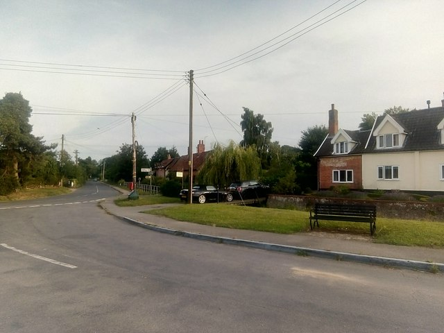 Sibton: view down Pouy Street from outside the White Horse