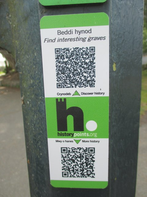 HiPoints information QR code for interesting graves on church island, Menai Bridge
