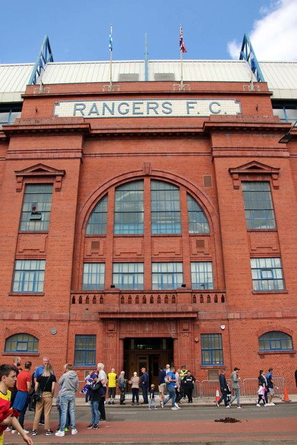 The main entrance to the Bill Struth Main Stand on Edmiston Drive at Ibrox Stadium