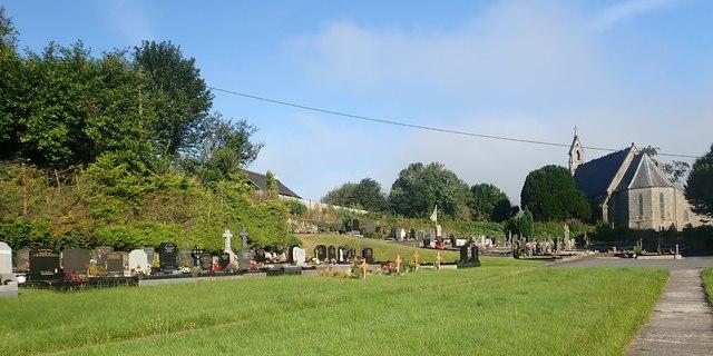 Catholic cemetery behind the redundant Church of Ireland place of worship at Jonesborough