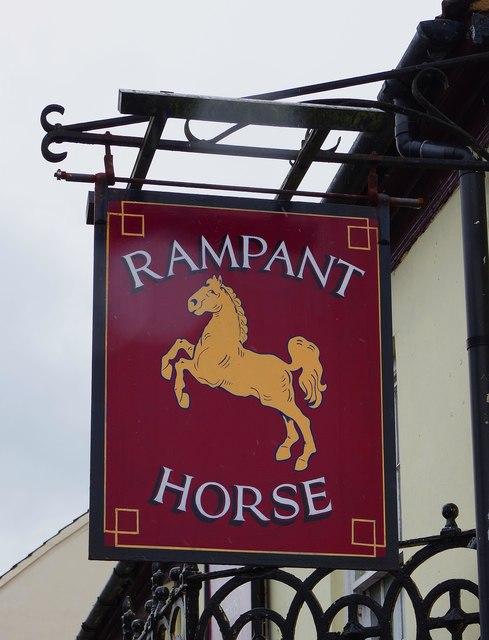 The Rampant Horse (2) - sign, 3 Queens Road, Fakenham, Norfolk