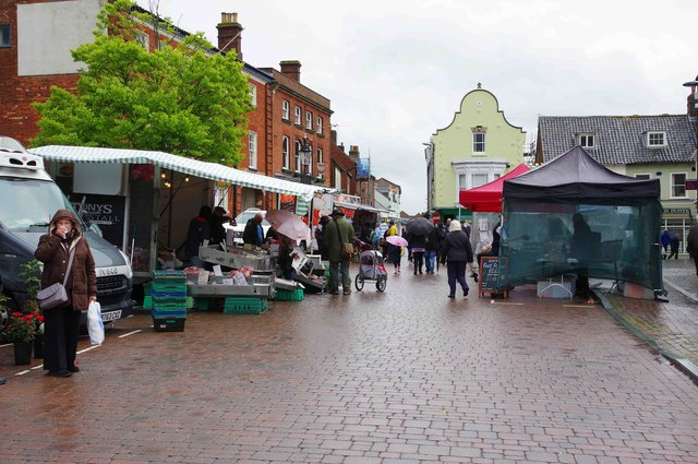 Weekly market in Market Place, Fakenham, Norfolk