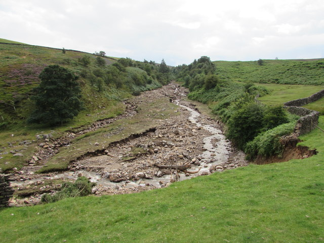 Cogden Gill alters its course after a flash flood
