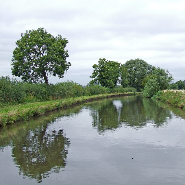 Canal north of Acton Trussell in Staffordshire