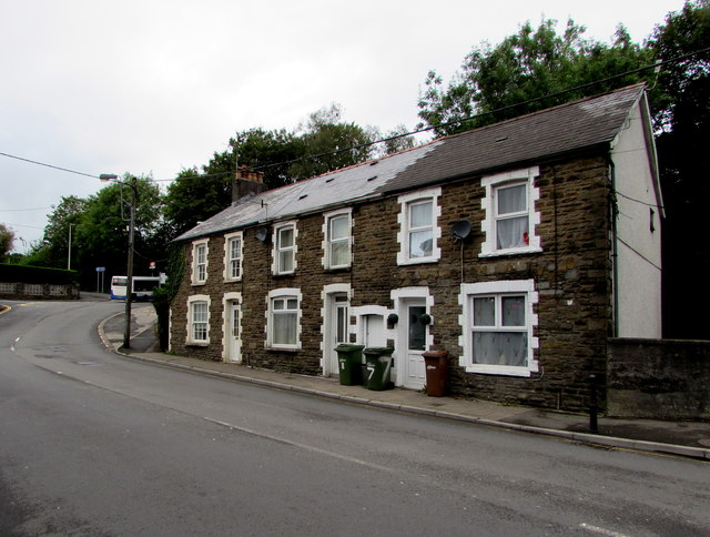 Row of three stone houses, The Square, Glan-y-nant, Pengam