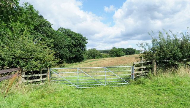 Route of public footpath beyond gate
