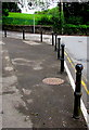 ST1597 : Black metal posts on a Pengam corner by Jaggery