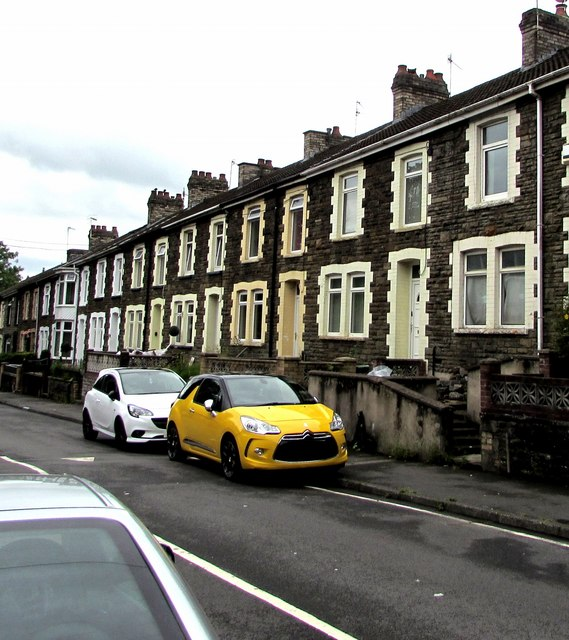 Yellow car and white car, Cardiff Road, Pengam