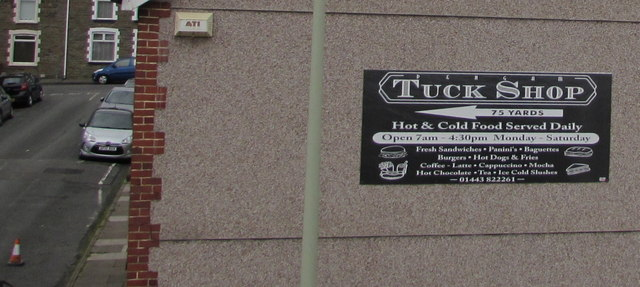 Pengam Tuck Shop direction sign by Jaggery