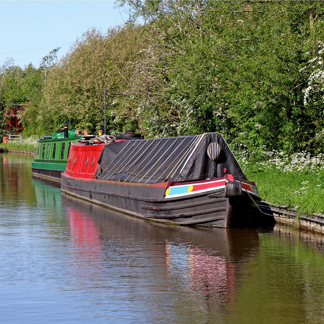 Moored working boat near Colton in Staffordshire