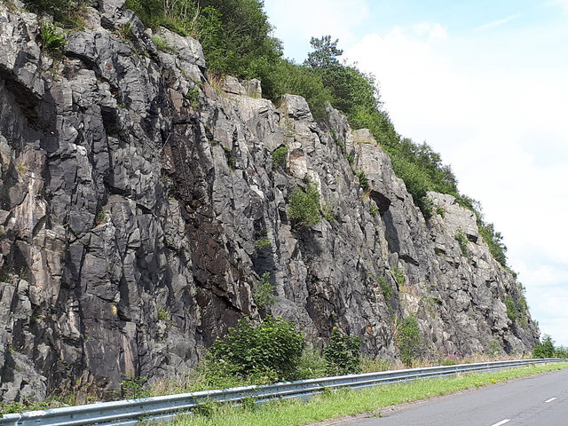Rockface adjacent to the A685 at Whitestones