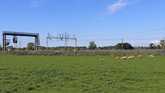 Pasture and railway north of Rugeley