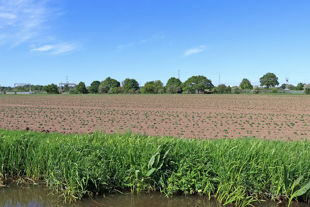Canalside farmland north-west of Rugeley in Staffordshire