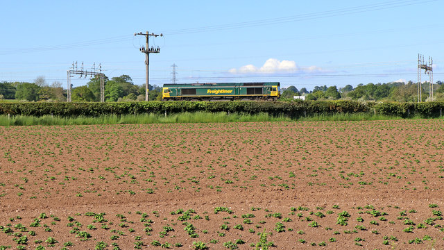 Potato field north-west of Rugeley in Staffordshire