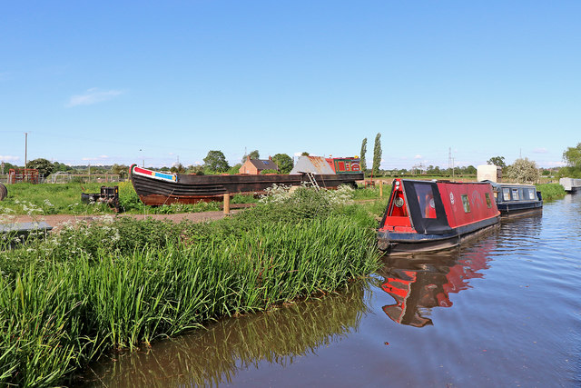 Moored narrowboats near Bishton in Staffordshire