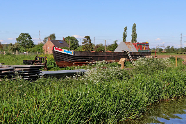 Working boat on dry land near Colwich, Staffordshire