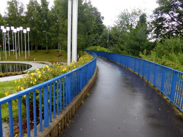 Pathway with blue railings, Omagh