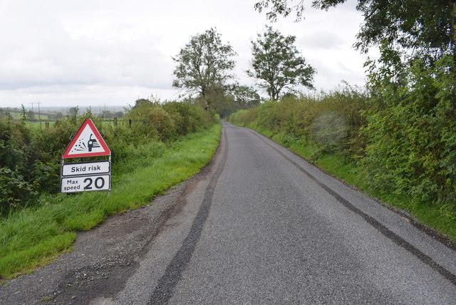 Skid risk warning along Roeglen Road, Bracky
