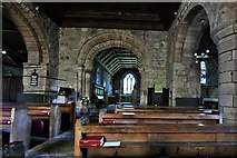 NY2039 : Torpenhow, St. Michael's Church: The nave and Norman chancel arch by Michael Garlick