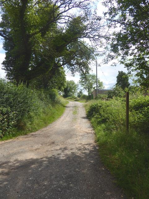 Farm road by Haybanks Farm