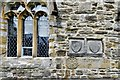 NZ1114 : Wycliffe, St. Mary's Church: Heraldic symbols inserted into the south wall 2 by Michael Garlick