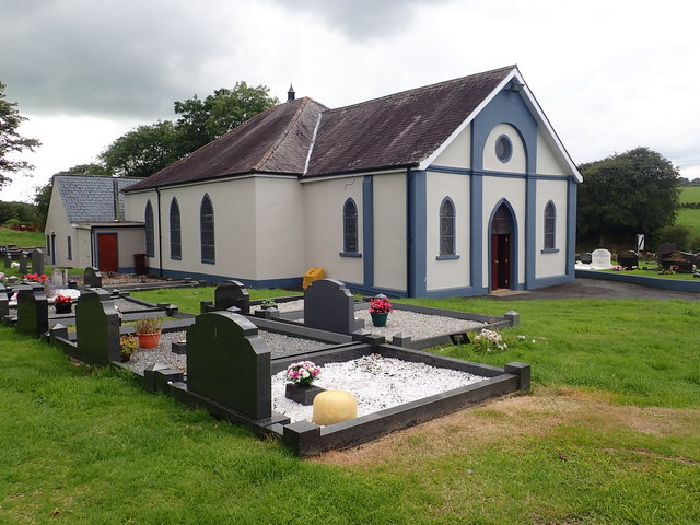 The Second Newtownhamilton Presbyterian Church viewed from the burial ground
