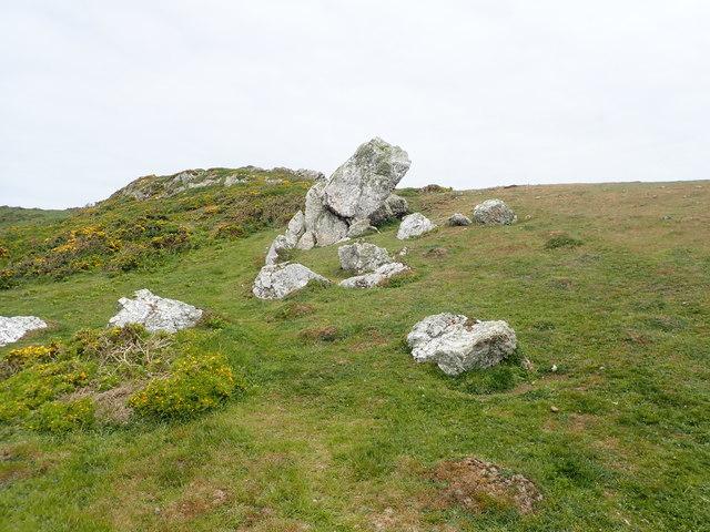 Limestone boulders on Mynydd Enlli