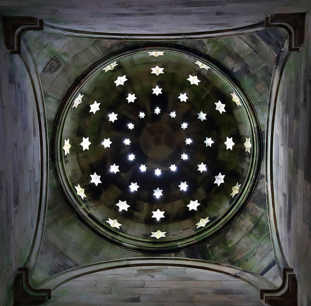 Looking up to the domed roof of the Monteath Mausoleum