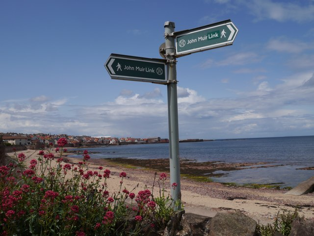 John Muir Link Sign at Dunbar Beach
