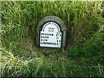 SJ1532 : Llanarmon DC milestone by Richard Law