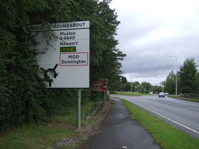 Approaching Granville Roundabout on the A4640