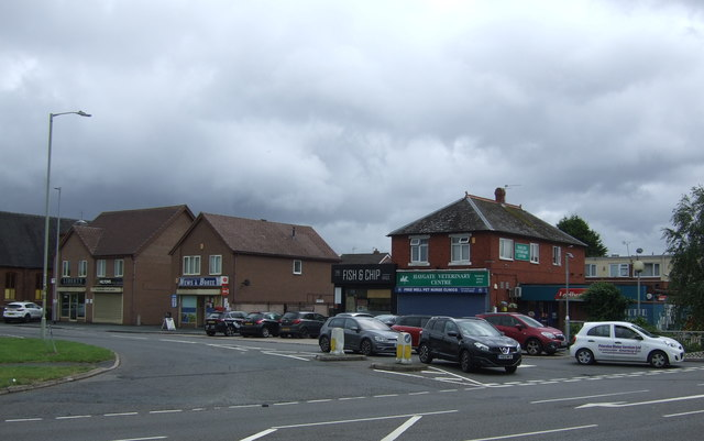 Post Office and shops on Wellington Road, Muxton