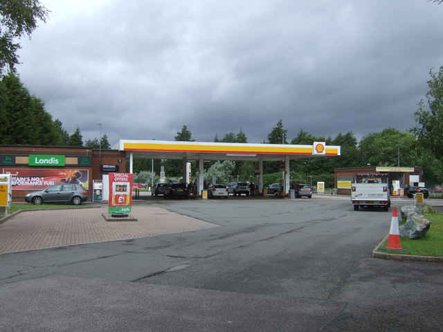 Service station off School Road (A4640)