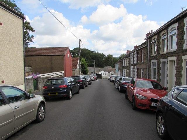 Car-lined Pengam Street, Glan-y-nant, Pengam by Jaggery